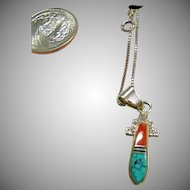 Sterling Silver Coral and Turquoise Pendant on Sterling Silver Chain