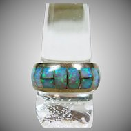Sterling Silver Band Style Ring with Opal On Metal Inlay