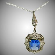 1920s-1930s Sterling Silver Filigree Necklace with Blue Stone
