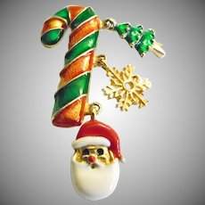 Candy Cane Brooch with Charms