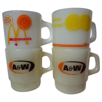 Vintage Assorted Fire King Advertising Mugs ~ A&W, McDonald's, Rexall