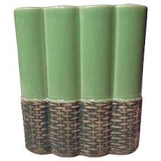Vintage McCoy Basket Line Ribbed Vase