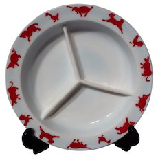 Hazel Atlas Child's Red Barnyard Divided Dish