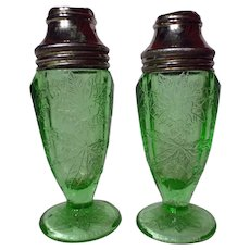 Jeannette Green Depression Glass Poinsettia Salt & Pepper Shakers