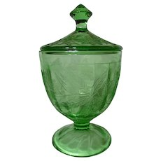 Jeannette Green Depression Glass Poinsettia Covered Candy Dish