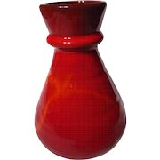 Blue Mountain Pottery Red Flame Glaze Trumpet Vase