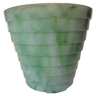 Akro Agate Large Stacked Disc Jade Swirl Flower Pot
