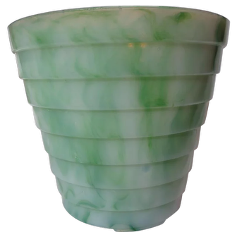 Akro Agate Large Stacked Disc Jade Swirl Flower Pot