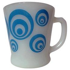 "Vintage Fire King Blue Bullseye ""D"" Handle Mug"