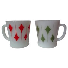 "Vintage Fire King Kite Pattern ""D"" Handle Mug Pair"