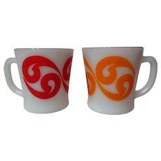 "Vintage Fire King Yin Yang or Spin Beads Pattern ""D"" Handle Mug Pair"