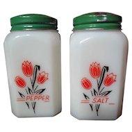 Vintage McKee Red Tulips Range Shakers