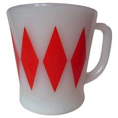 "Vintage Fire King Red Diamond ""D"" Handle Mug"