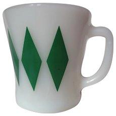 """Vintage Fire King Green Diamond """"D"""" Handle Mug"""