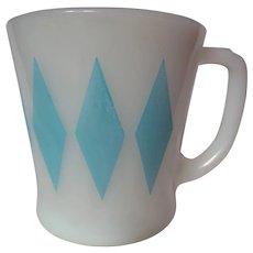 "Vintage Fire King Turquoise Diamond ""D"" Handle Mug"