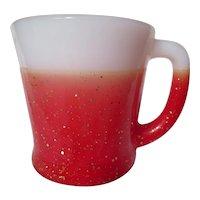 """Vintage Fire King Red Glamalite """"D"""" Handle Mug"""