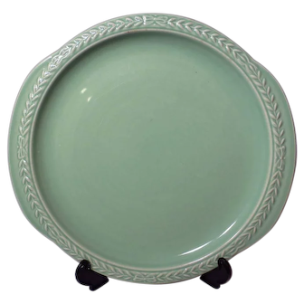 Universal Cambridge Laurella Jade Green Cake Plate