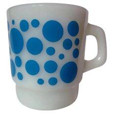 Vintage Fire King Blue Polka Dots Mug