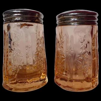Federal Glass Pink Sharon Cabbage Rose Salt & Pepper Shakers