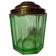 US Glass Uranium Green Covered Octagon Powder Jar