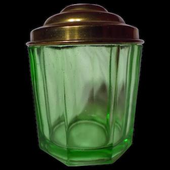 US Glass Uranium Green Covered Octagon Powder Jar