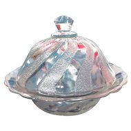 Dominion Glass Stippled Swirl Covered Butter Dish