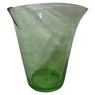Federal Glass Depression Era Green Three Spout Measure