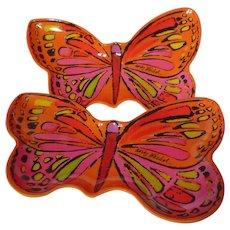 Andy Warhol Melamine Butterfly Appetizer Plate Pair In Orange