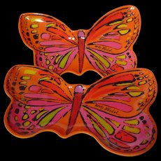 Andy Warhol Melamine Butterfly Appetizer Plate Pair In Orange