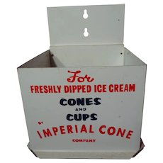 Vintage 1960's Imperial Cone Tin Ice Cream Cone Dispenser