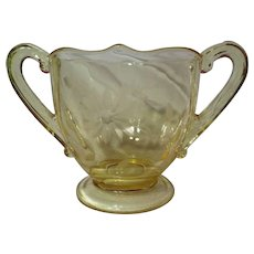Lancaster Glass Co. Topaz Jubilee Sugar Bowl