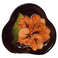 Moorcroft Hibiscus Pattern Clover Leaf Pin Dish