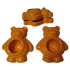 Vintage Set Of 4 Honiton Pottery Teddy Bear Egg Cups