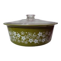 Vintage Pyrex Big Bertha Crazy Daisy 4 QT Covered Casserole