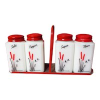 Vintage Tipp City Cattails Tall Range Shaker Set With Holder