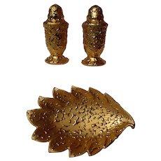 Kingwood Ceramics Weeping Gold Salt, Pepper With Leaf Dish
