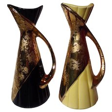 Vintage Savoy China Weeping Gold Pitcher Vase Pair