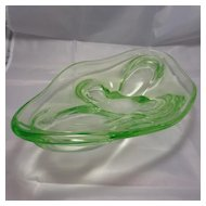 Vintage Czech Uranium Glass Art Glass Dish