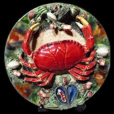 "Alvaro Jose Caldas Da Rainha Majolica Seashore Crab & Shellfish 12"" Charger"