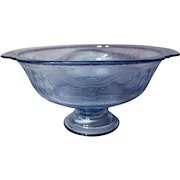 Federal Madrid Indiana Recollections Blue Footed Serving Bowl