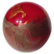 Isle of Wight Red & Gold Azurene Studio Glass Paperweight