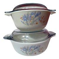 Pyrex Blue Iris England  Four Piece Casserole Dish Set
