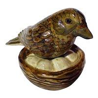 Vintage Mexican Tonala Pottery Carlos Villanueva Bird On Nest