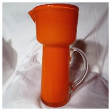 Mid-Century Orange Cased Glass Pitcher