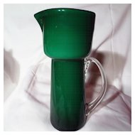 Mid-Century Green Cased Glass Pitcher