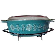 Vintage Pyrex Turquoise Lace Medallion Casserole Dish And Cradle