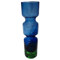 Vintage Aseda Blue Green Hooped Vase by Bo Borgstrom