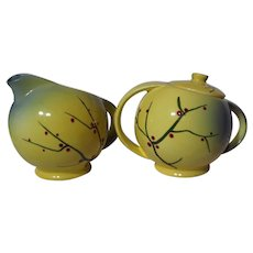 Rare Medicine Hat Pottery Pussy Willow Creamer and Covered Sugar