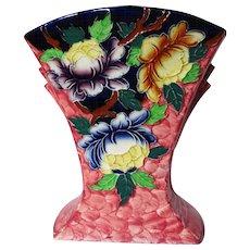 Vintage Maling Pottery Peona Pattern Vase