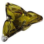 Vintage Signed Chalet Olive Green Tri-Cornered Cigar Ashtray